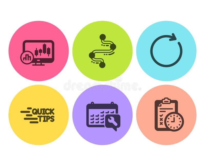 Uppsättning för timeline-, utbildnings- och ljusstakediagramsymboler Skruvnyckeln synkroniserar och examentidtecken vektor royaltyfri illustrationer