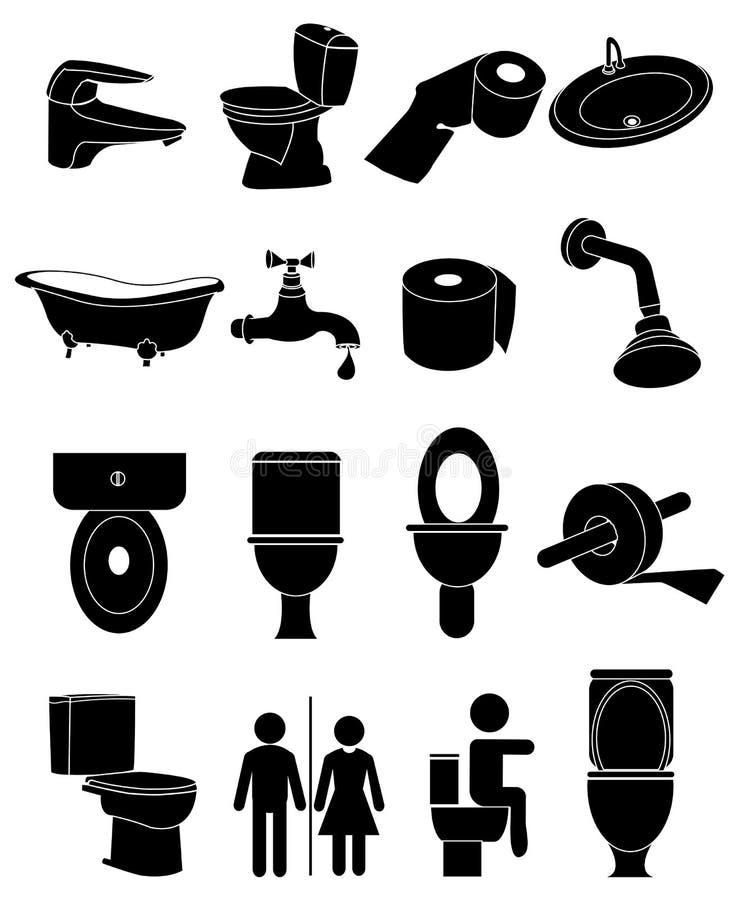 Uppsättning för toaletttoalettsymboler vektor illustrationer