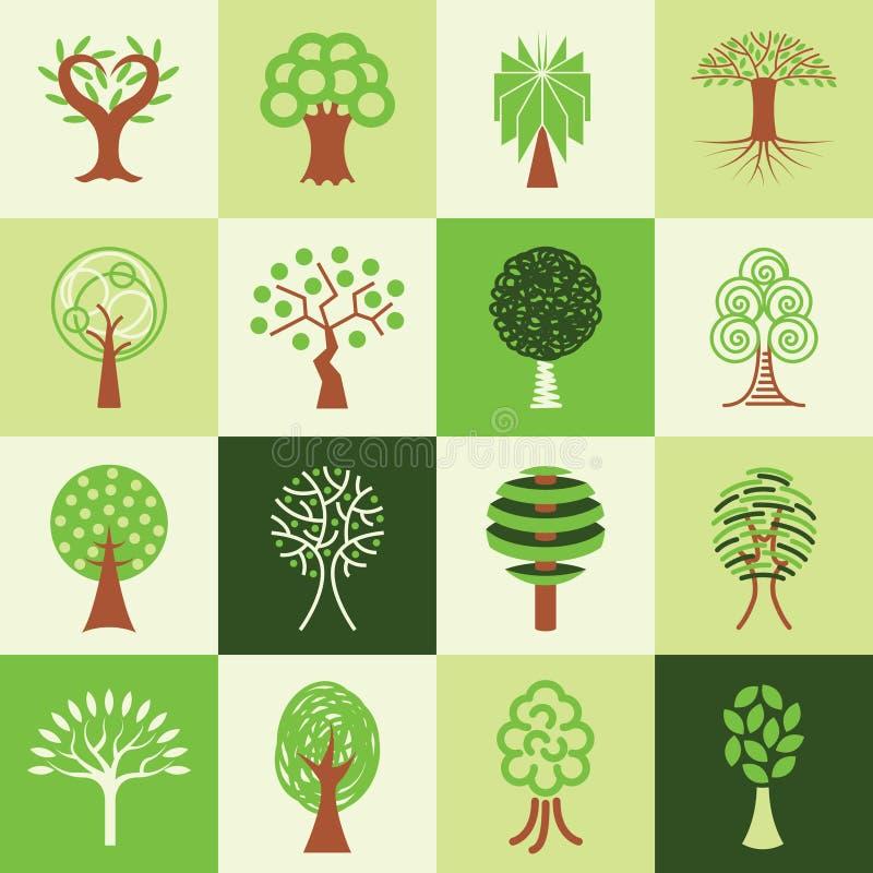 Uppsättning för trädsymbolsvektor stock illustrationer
