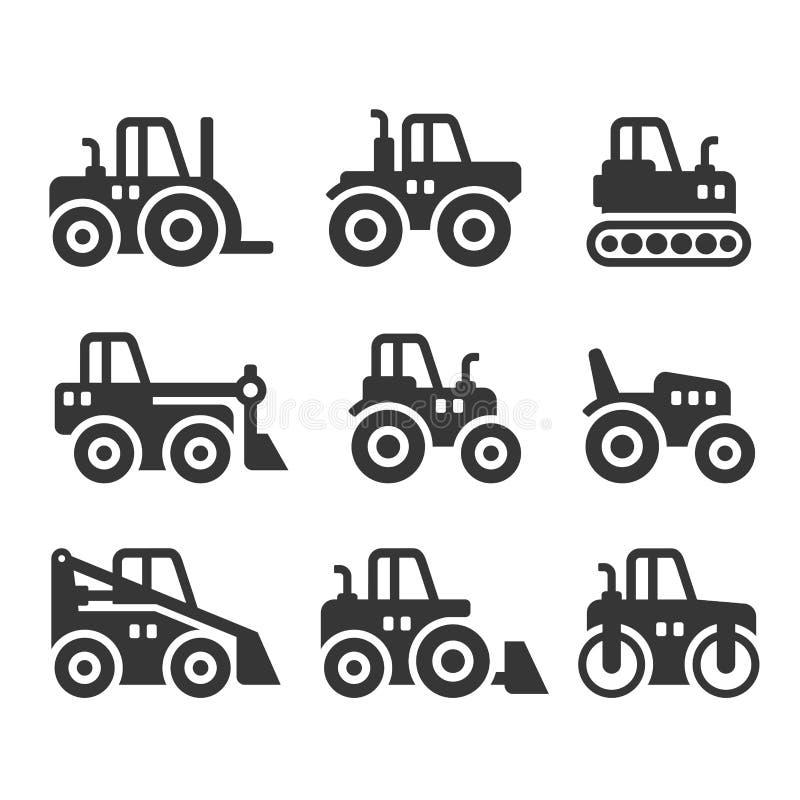 Uppsättning för traktor-, lantgård- och byggnadsmaskinsymboler vektor vektor illustrationer
