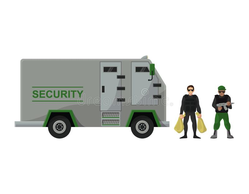 Uppsättning för trans. för harnesk för illustration för bil för transport för skåpbil för kassa för pansarbilvektorbank av lastbi royaltyfri illustrationer