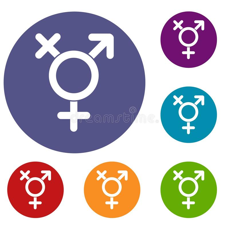 Uppsättning för Transgenderteckensymboler stock illustrationer