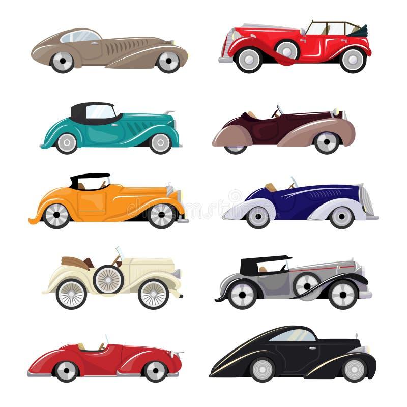 Uppsättning för transport för art décobilvektor retro lyxig auto modern och för bilillustration för art déco av gammalt automatis stock illustrationer