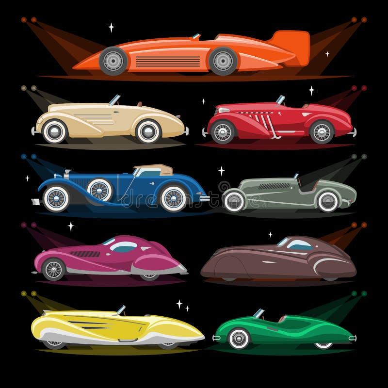 Uppsättning för transport för art décobilvektor retro lyxig auto modern och för bilillustration för art déco av gammalt automatis vektor illustrationer
