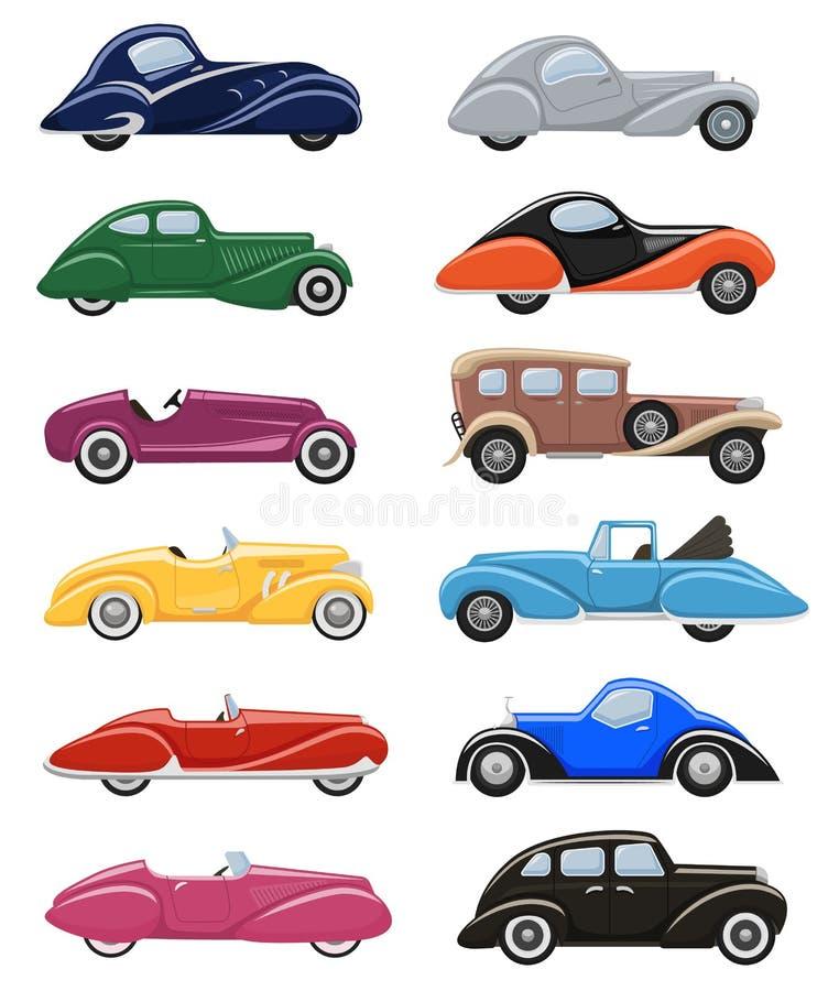 Uppsättning för transport för art décobilvektor retro lyxig auto modern och för bilillustration för art déco av gammalt automatis royaltyfri illustrationer