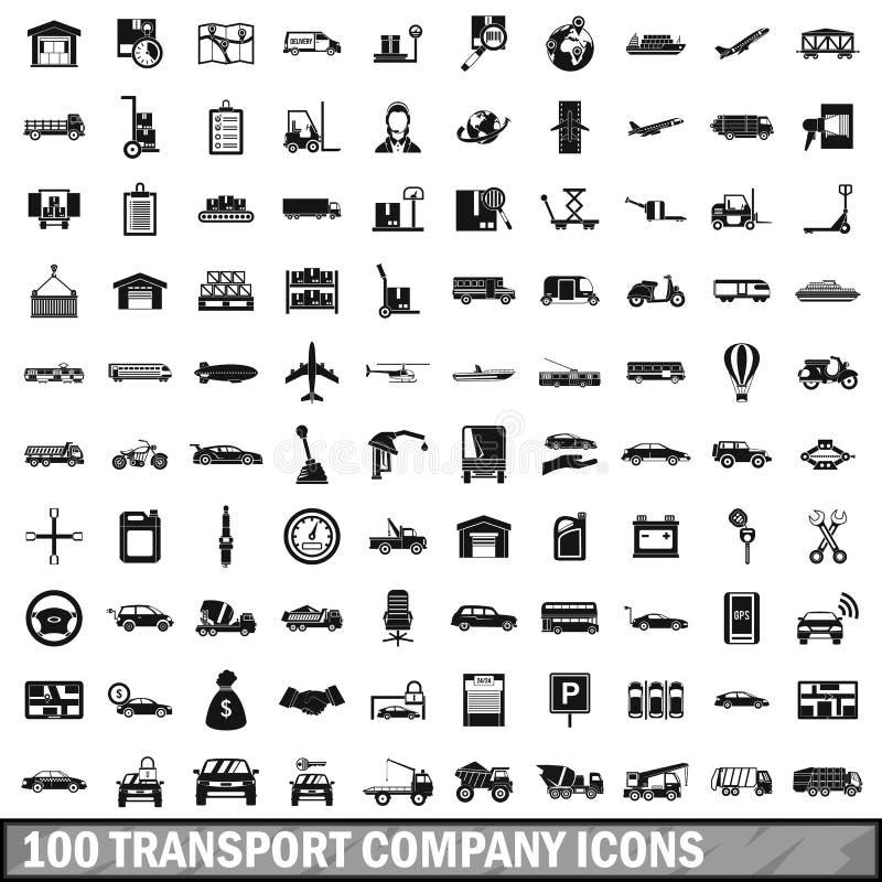 uppsättning för 100 transportföretagssymboler, enkel stil stock illustrationer