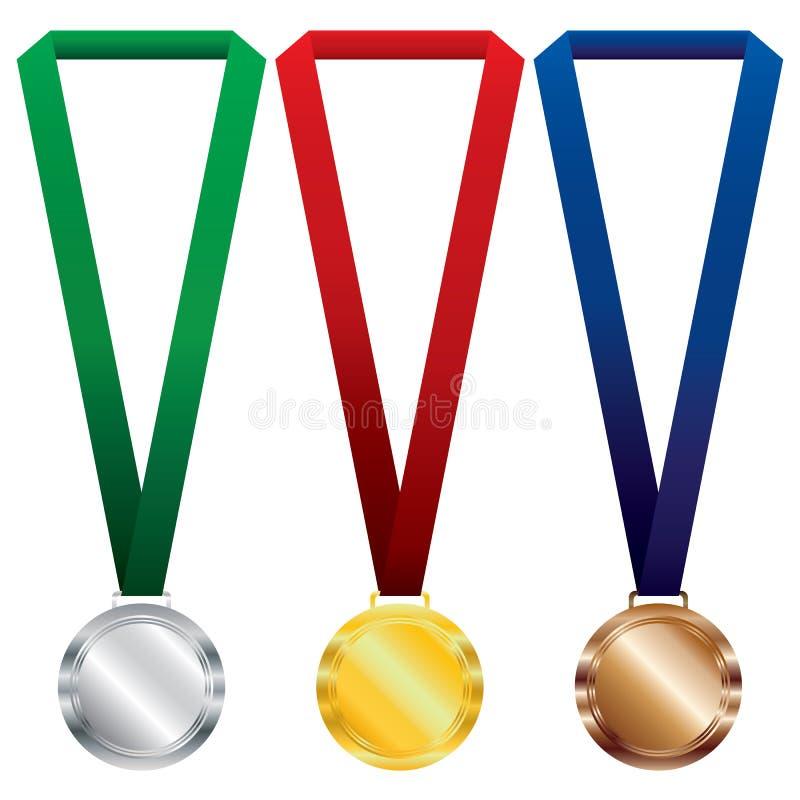Uppsättning för tre medaljer Guld, silver och brons på det röda bandet och gräsplan, strumpebandsorden royaltyfri illustrationer