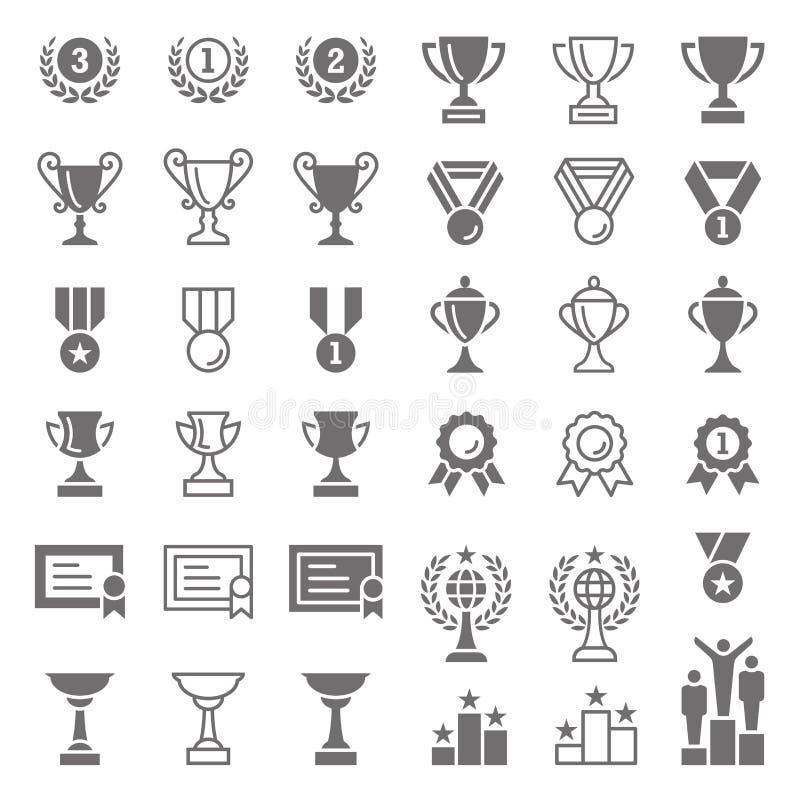 Uppsättning för trofé- och utmärkelsevektorsymboler stock illustrationer
