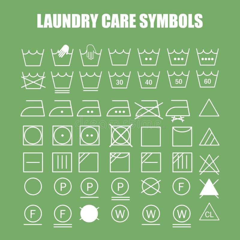 Uppsättning för tvätteriomsorgsymboler vektor illustrationer