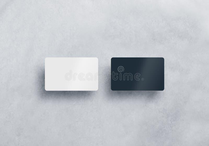 Uppsättning för två isolerad tom plast- modeller för affärskort arkivbild