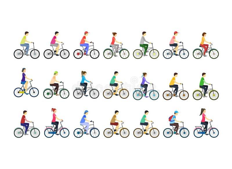 Uppsättning för typer för tecknad filmfärgcyklister olik vektor stock illustrationer