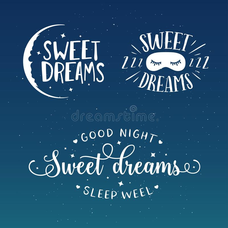 Uppsättning för typografi för bra natt för söta drömmar Vektortappningillustration stock illustrationer