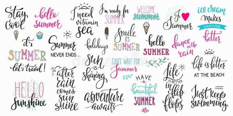 Uppsättning för typografi för Hello sommarbokstäver stor stock illustrationer