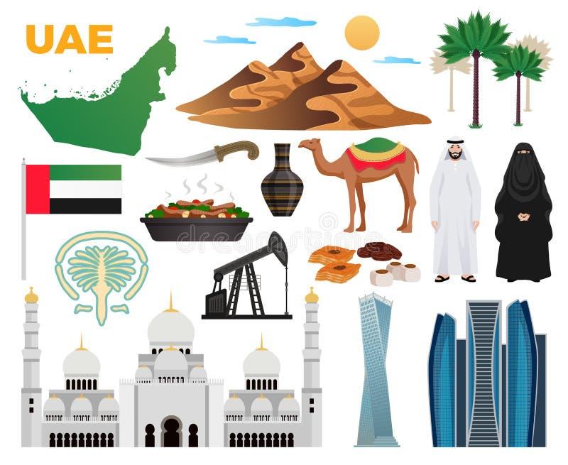 Uppsättning för UAE-loppsymboler stock illustrationer