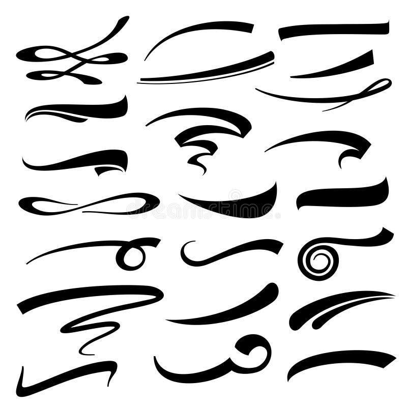 Uppsättning för understrykningar för handbokstävervektor vektor illustrationer
