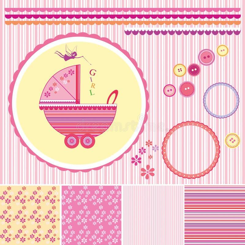 Uppsättning för urklippsbokbaby showerflicka - designbeståndsdelar vektor illustrationer