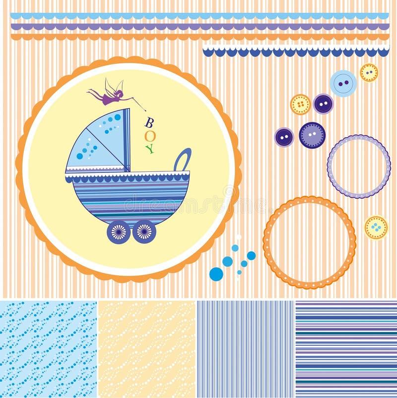Uppsättning för urklippsbokbaby showerpojke - designbeståndsdelar stock illustrationer