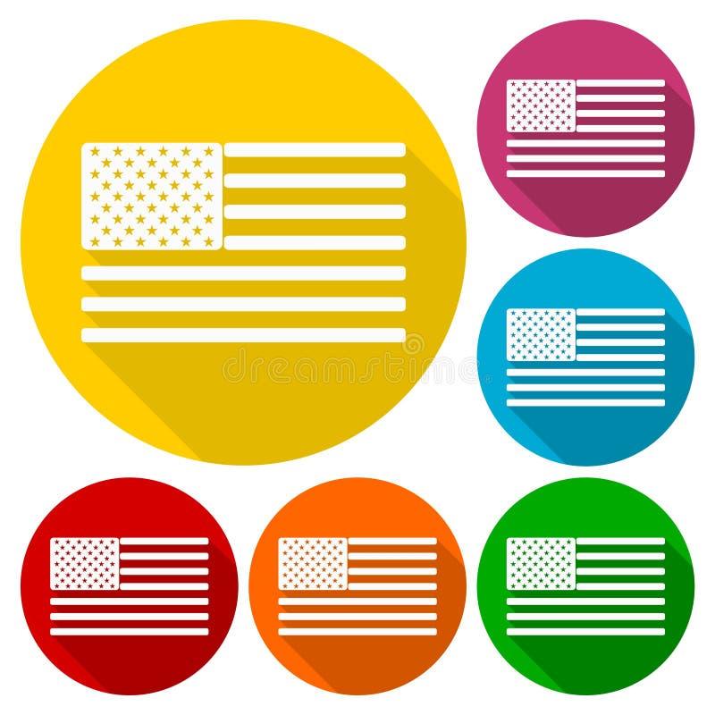 Uppsättning för USA amerikanska flaggansymboler med lång skugga stock illustrationer