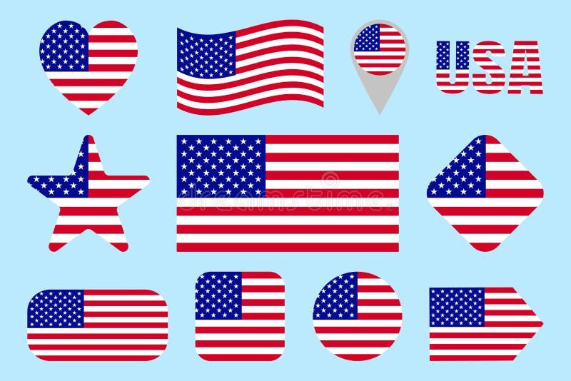 Uppsättning för USA flaggasymbol Lägenhet isolerade symboler Vektoramerikanska flagganuppsättning Traditionella färger för Förent vektor illustrationer