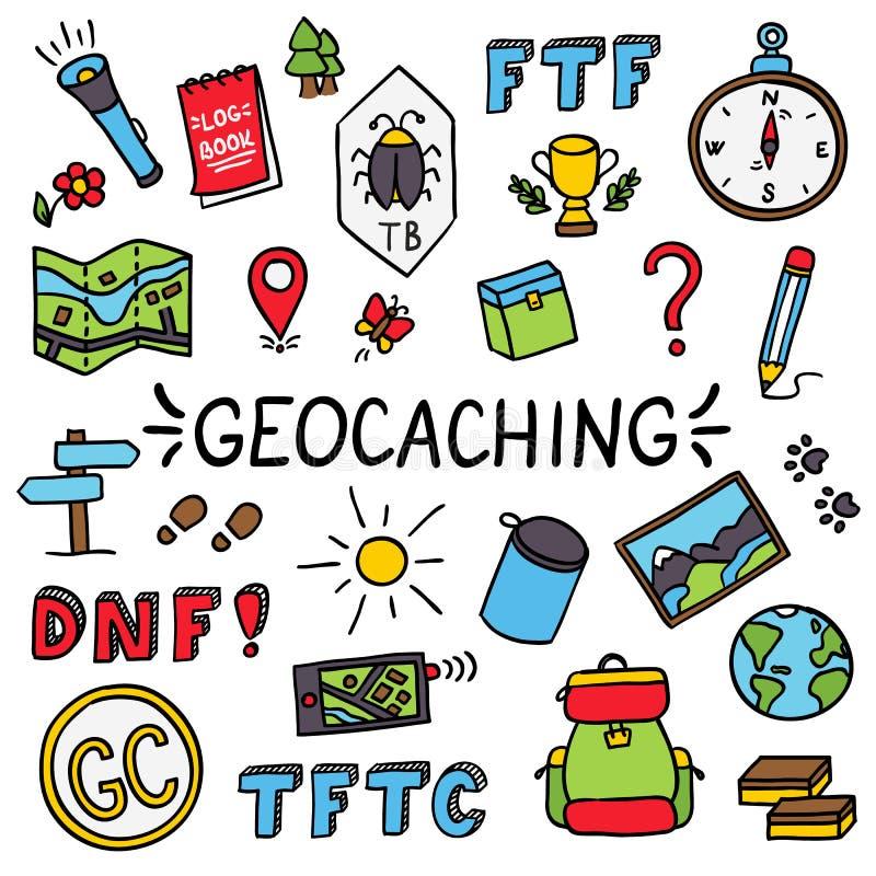 Uppsättning för utrustning för Geocaching färgrik klotterteckning stock illustrationer