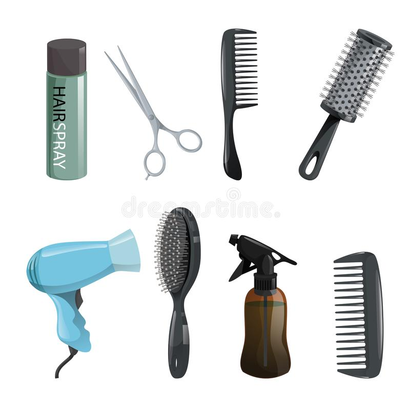 Uppsättning för utrustning för hårskönhetsalong Hårspray sax, hårkam, hårborste, tork royaltyfri illustrationer