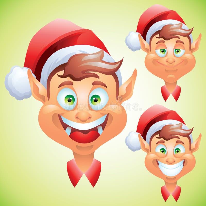Uppsättning för uttryck för julälvaframsida royaltyfri illustrationer