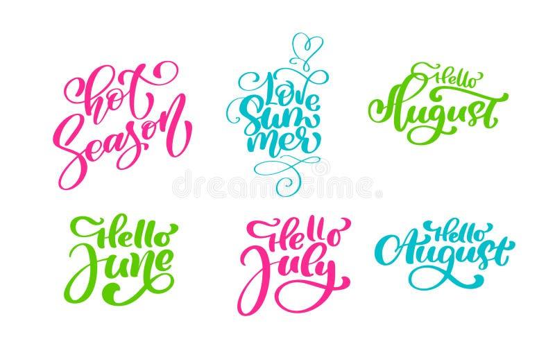 Uppsättning för uttryck för lopplivsstil motivational För sommarvektor för hand utdragen text för bokstäver för kalligrafi Semest stock illustrationer