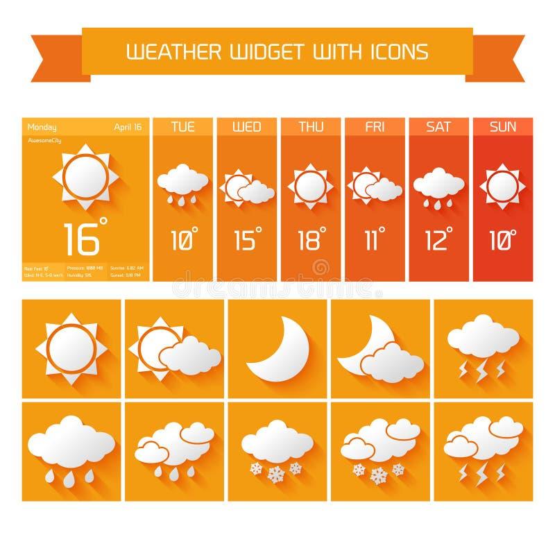 Uppsättning för vädermanicksymboler vektor illustrationer