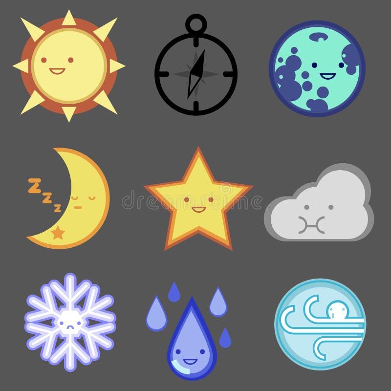 Uppsättning för väderprognossymbol för rengöringsdukdesign, mobil, internet, app royaltyfri fotografi