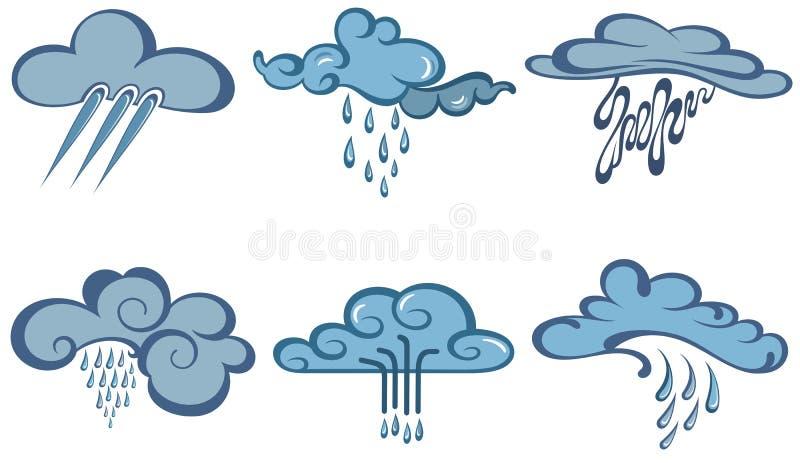 Uppsättning för väderrengöringsduksymboler stock illustrationer