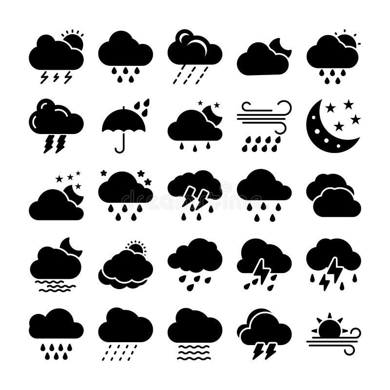 Uppsättning för väderskårasymboler royaltyfri illustrationer