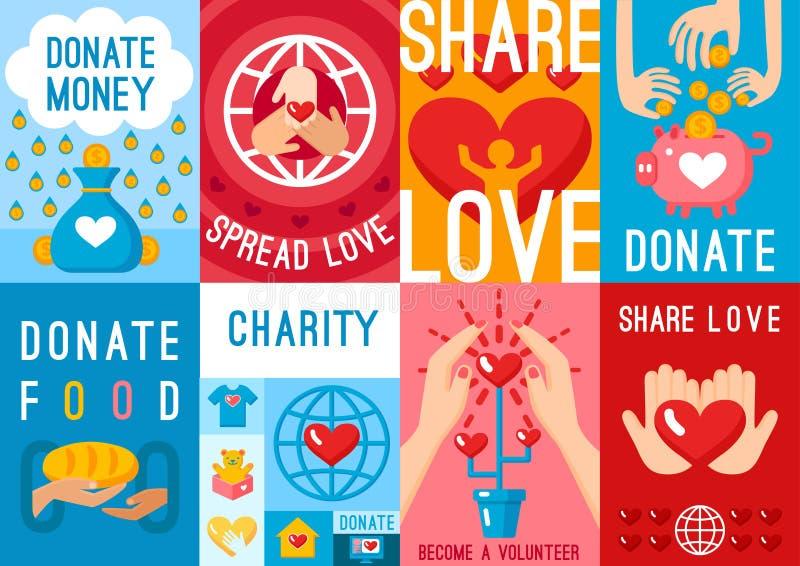 Uppsättning för välgörenhetdonationaffischer royaltyfri illustrationer