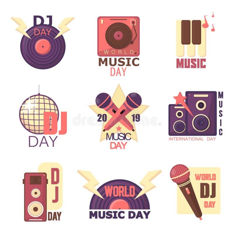 Uppsättning för världsDj-dag av vektortappningemblem, etikettemblem och logoer av musik Vinyl mikrofon, retro stil för headphoneo royaltyfri illustrationer
