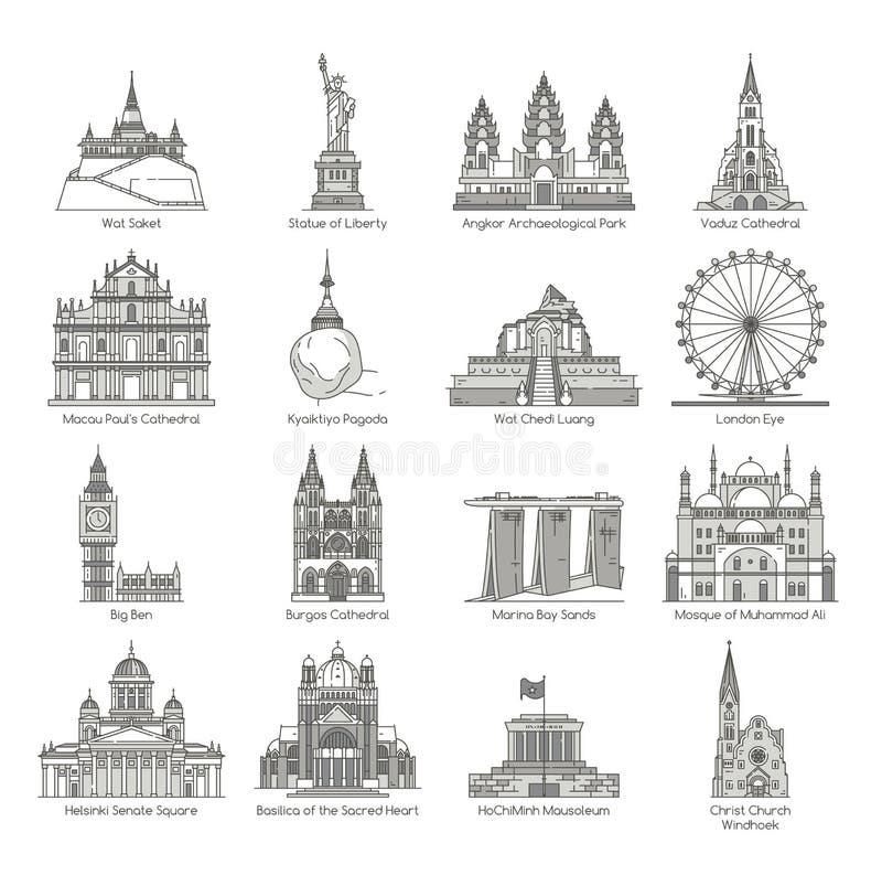 Uppsättning för världsgränsmärkesymbol royaltyfri illustrationer
