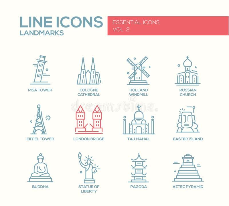 Uppsättning för världsgränsmärkesymboler royaltyfri illustrationer
