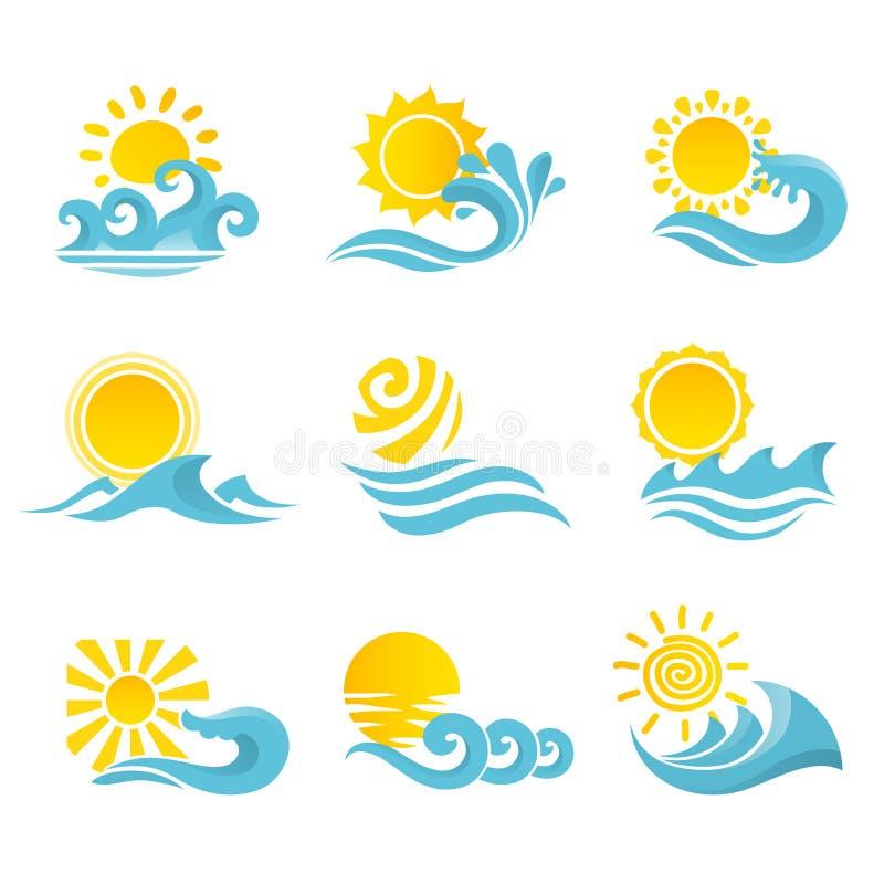 Uppsättning för vågsolsymboler stock illustrationer