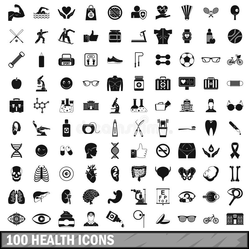 uppsättning för 100 vård- symboler i enkel stil royaltyfri illustrationer