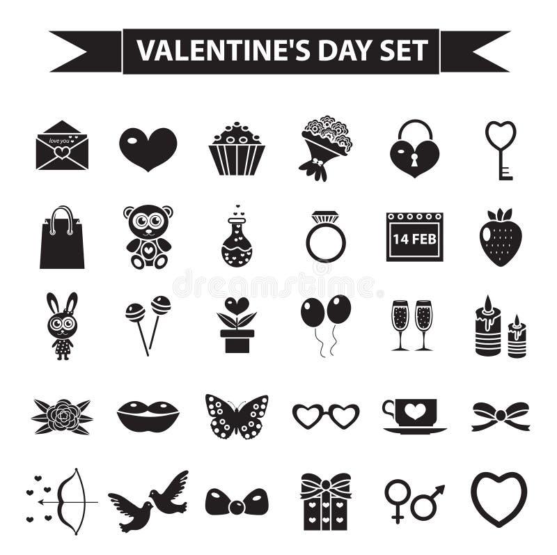 Uppsättning för valentindagsymbol, svart konturstil Förälskelse romans som gifta sig samlingen, undertecknar, symboler som isoler royaltyfri illustrationer