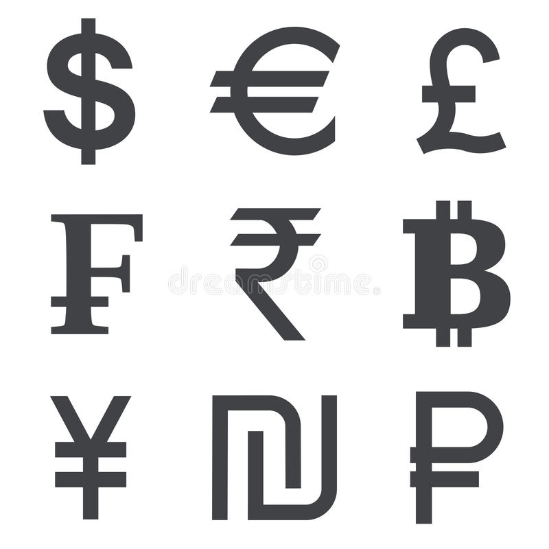 Uppsättning för valutavektorsymbol stock illustrationer