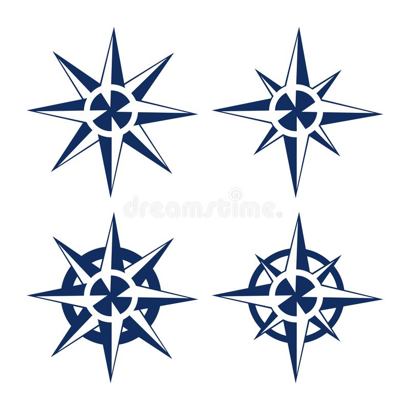 Uppsättning för variation för symbol för väg för riktning för cirkelkompasslopp stock illustrationer