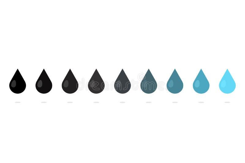 Uppsättning för vattendroppsymbol royaltyfri illustrationer