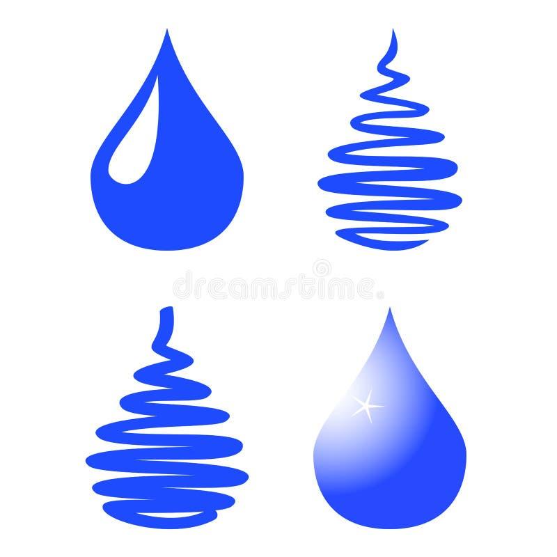 Uppsättning för vattendroppsymbol som isoleras på vit bakgrund också vektor för coreldrawillustration stock illustrationer