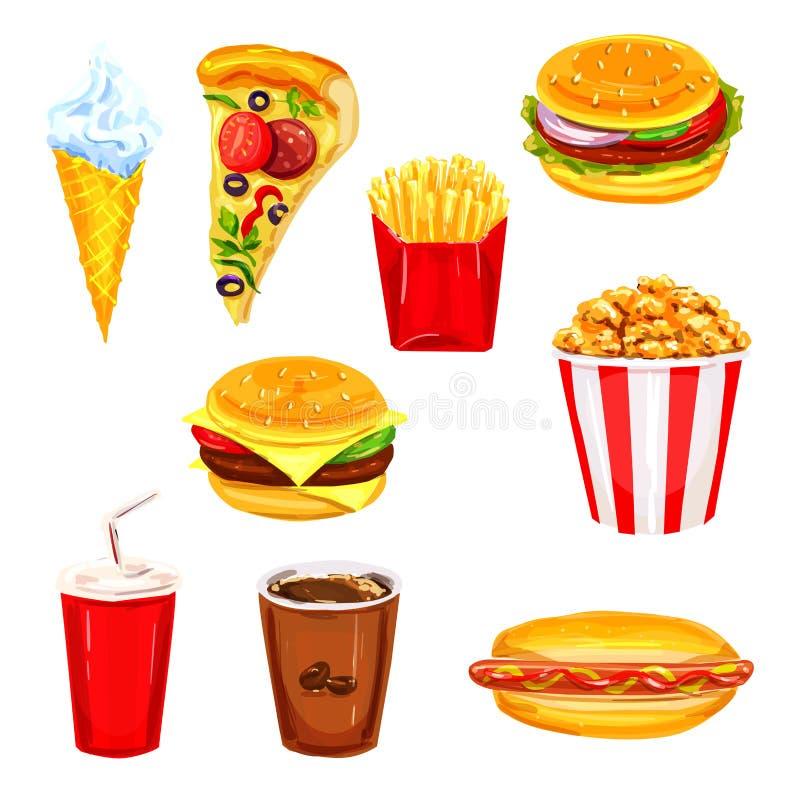 Uppsättning för vattenfärg för meny för snabbmatrestauranglunch stock illustrationer