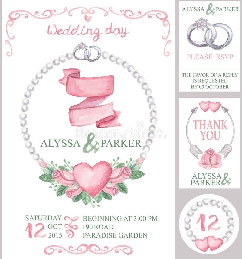 Uppsättning för vattenfärgbröllopinbjudan rosa ro stock illustrationer