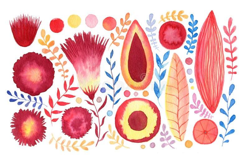 Uppsättning för vattenfärgfantasiblommor Tropisk och brevpappergarnering Bröllopinbjudan eller brevpapperdesign royaltyfri illustrationer