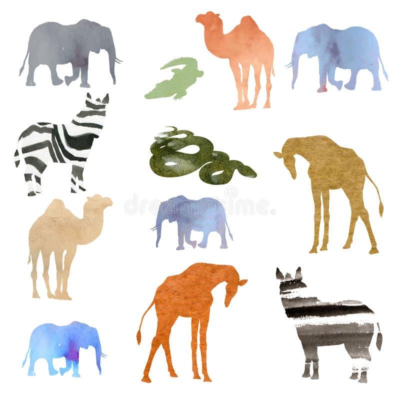 Uppsättning för vattenfärgillustrationbild av djur elefant, kamel, giraff, sebra, krokodil, orm olik genomskinlig vattenfärg stock illustrationer