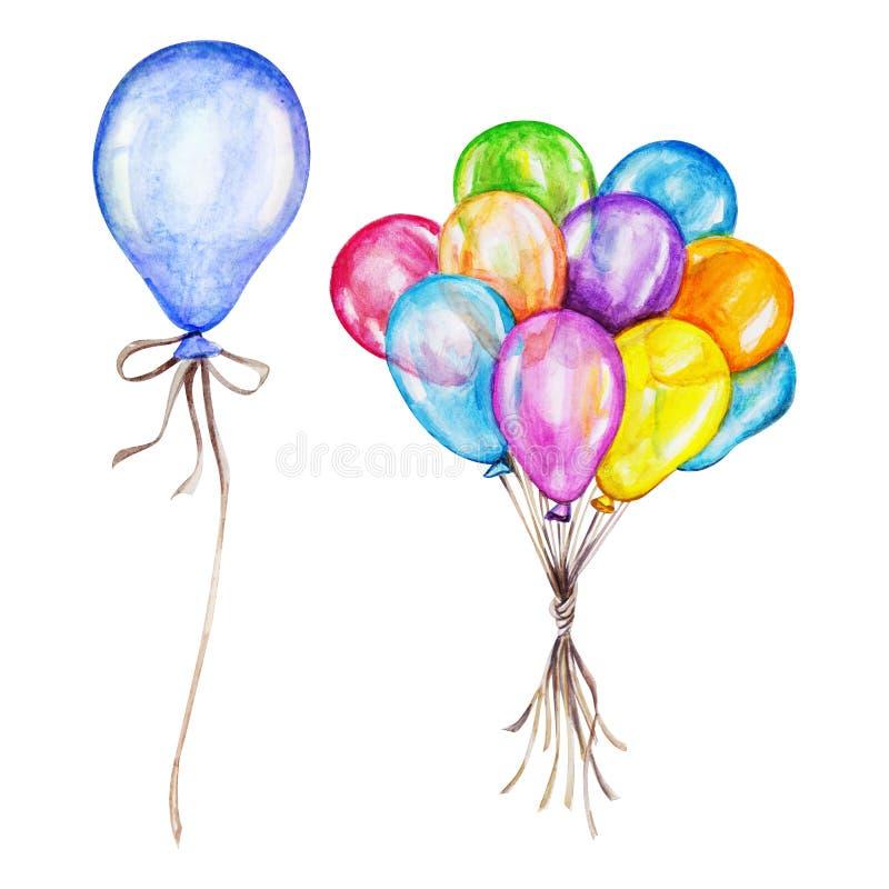 Uppsättning för vattenfärgluftballonger Hand drog uppblåsbarballonger stock illustrationer