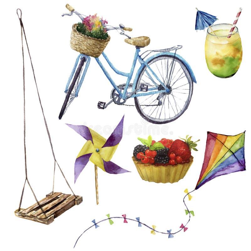 Uppsättning för vattenfärgsommarnöjen Hand målade objekt för sommarsemester: gunga coctail, kait, fruktkaka, cykel och royaltyfri illustrationer