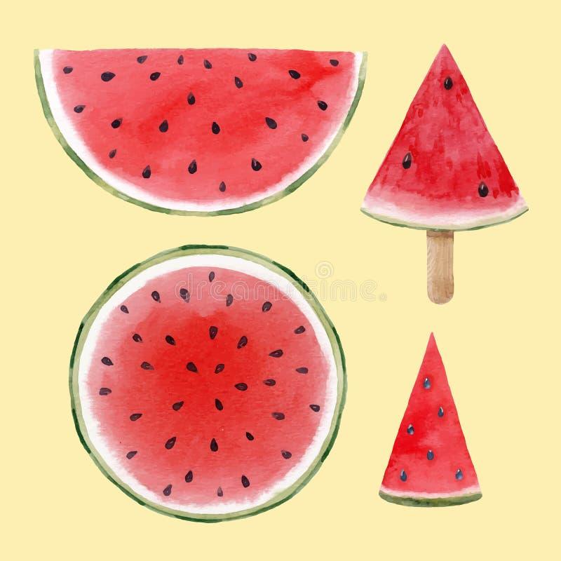 Uppsättning för vattenfärgvattenmelonvektor stock illustrationer