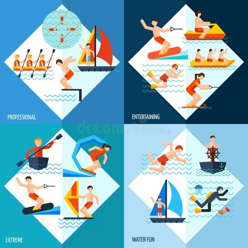 Uppsättning för vattensportar royaltyfri illustrationer